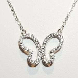Chic Pave CZ Butterfly Necklace NEW
